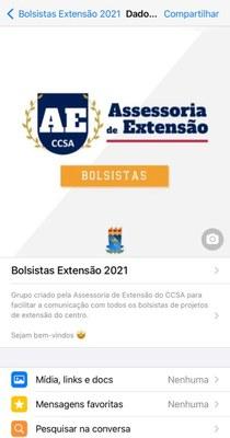 Grupo de bolsistas dos projetos de extensão do CCSA. Imagem: captura de tela.