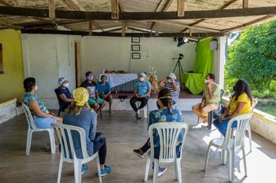 Reunião com a comunidade do Vale do Gramame para desenvolver a rota do Circuito Vale do Gramame de Cicloturismo. Imagem cedida pela equipe (2021).